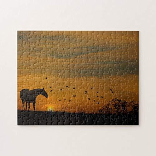 Rompecabezas de caballo al atardecer con pájaros 1000 piezas, desafiantes y educativos juegos de puzles, rompecabezas de pintura abstracta para niños y adultos