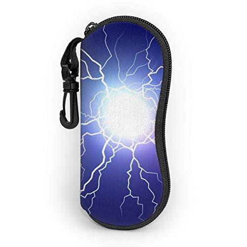 Gafas de sol suave caso ligero portátil 3d impreso rayo azul cielo cremallera gafas caja con clip de cinturón para hombre y mujer