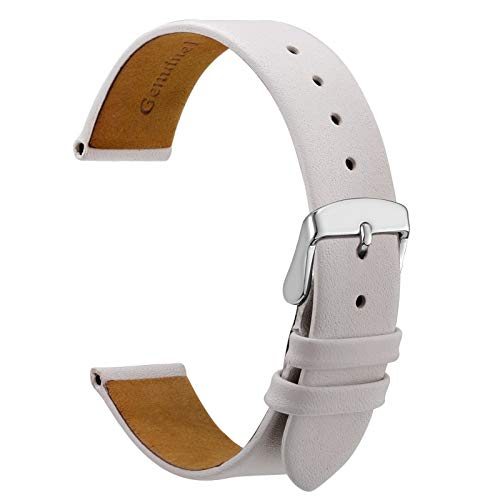 WOCCI Watch 20mm Watch Band, Elegant Genuine Leather Replacement Straps White with Silver Buckle