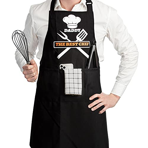 Funny Aprons For Men With Pockets, Mens Apron, Birthday Gifts For Men, Dad, Husband, Boyfriend, Grill Cooking BBQ Kitchen Chef Apron (THE BEST CHEF)