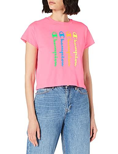 Champion Seasonal Graphic Gallery Crop Boxy Crewneck T-Shirt, Fluorescent Pink, XL Womens
