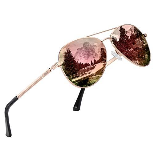DUCO Cool Brille Polarisierte Sonnenbrille Klassische Unisex Fliegerbrille UV400 Filter Kategorie 3 CE 3025K (Gold,Verspiegelt Rosa)