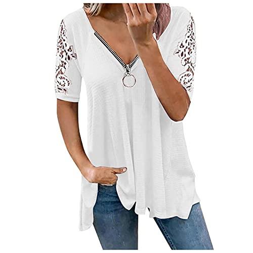Camiseta para mujer con cuello en V, manga corta, informal, para verano, de color liso, con cremallera, elegante, suelta, túnica Blanco XL