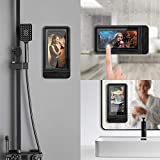 Wall Mount Phone Holder, Fansteck Wall Phone Holder Mount with Reusable Nano Adhesive Strip, for Bathroom,Shower,Kitchen,Make up and More, Compatible with Mobile Phones Under 6.9 inches (Black)