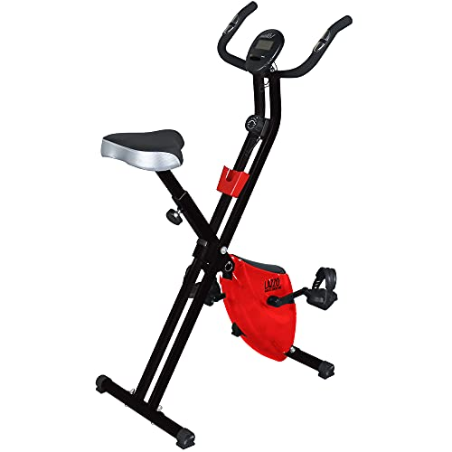 LAZZO Indoor Folding Magnetic Slim Exercise Bike  Bundle Includes Larger Soft seat, Remote Control Placement Holder,8-Levels Adjustable Resistance,Perfect for Home Use  Bear 250 lbs