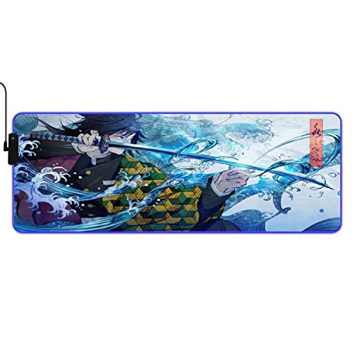RGB Gaming Anime Mouse Pad, LED Mice Pads Mouse Mat Soft Extended Large Mouse Pad, Anti-Slip Rubber Base, Computer Keyboard Kids Mouse Mat for Desktop - 31.5 X 11.8 Inch