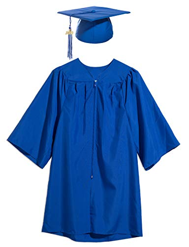 Preschool and Kindergarten Cap and Gown with Tassel and 2020 Charm - Blue Satin Sheen, Size Small