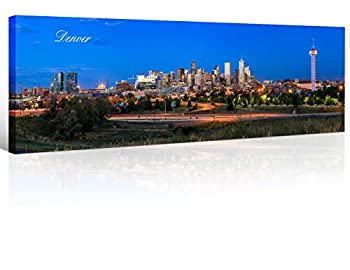 TUMOVO Denver Skyline Wall Art for Living Room Cityscape Canvas Modern Home Decor Panorama Pictures City Building House Decorations Skyscraper Artwork Night View Posters and Prints 12x46 Inch 1 Panel