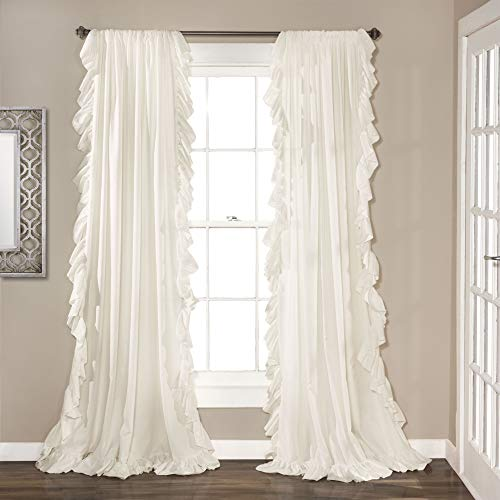 "Lush Decor Reyna White Window Panel Curtain Set for Living, Dining Room, Bedroom (Pair), 84"" x 54"""