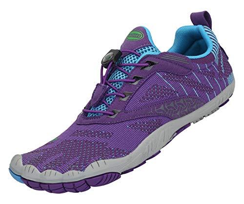 Zapatillas de Trail Running Minimalistas Hombre Mujer Barefoot Zapatillas de Deporte Exterior Interior,05 Morado,Gr.40