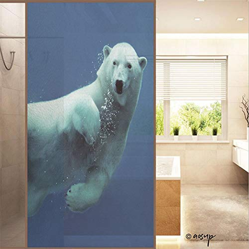 """YOLIYANA No Glue Window Films Close Up of A Swimming Polar Bear Underwater Looking at The Camera Country Style Stained Opaque Glass Stickers Decor Home Hotel Resturant (23.6""""x47.2"""") No23328"""