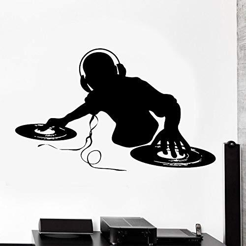 Pegatina de pared para DJ, auriculares, notas musicales, decoración del hogar, habitación para adolescentes, dormitorio, calcomanías de instrumentos musicales, Mural de barra extraíble A8 93x57cm