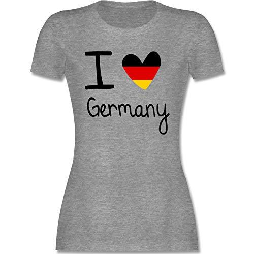 Fußball-Europameisterschaft 2021 - I Love Germany - S - Grau meliert - i Love Germany Tshirt - L191 - Tailliertes Tshirt für Damen und Frauen T-Shirt