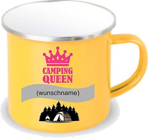 Crealuxe gelbe Emaille Tasse mit Rand Camping Queen Wunschname - Kaffeetasse mit Motiv, Campingtasse Bedruckte Email-Tasse mit Sprüchen oder Bildern