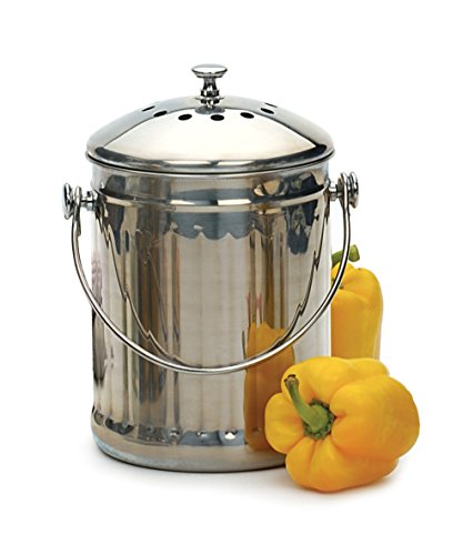 Review RSVP International Endurance (PAIL) Stainless Steel Compost Pail with Charcoal Filters, 1 Gal...