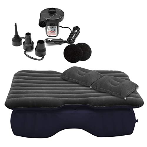 Zone Tech Inflatable Car Travel Air Mattress Back Seat – Pump Kit Premium Quality- Vacation Camping-Sleep Blow Up Pad Car Bed Back Seat Inflatable Air Mattress with 2 Air Pillows Car SUV Universal Fit