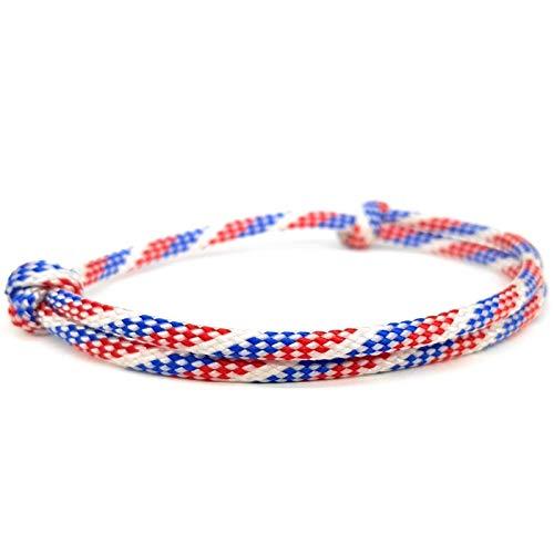 SAILOR & I STRIPES Männer- Frauen - Kinder - Stoff - Armband - Herrenarmband - Sportarmband - Surfarmband - Biken - Klettern - Unisex - Freundschaftsarmband - Armband - Fußband - Weiss - Blau - Rot