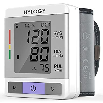 Wrist Blood Pressure Monitor HYLOGY Blood Pressure Cuff Fully Automatic High Blood Pressure Machine with Irregular Heartbeat Monitoring, Adjustable Wrist Cuff and Portable Case