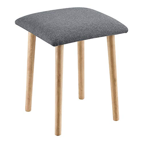 [en.casa] Sitzhocker Hocker gepolstert 45,5x36x36 cm Polsterhocker Holzhocker Dunkelgrau