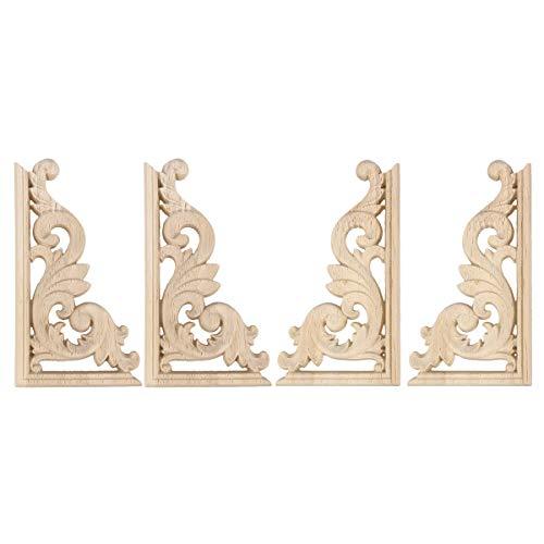 SUPVOX Tallado en madera Eslabón de la esquina Onlay Adornos de madera sin pintar Apliques Estilo europeo Puerta Gabinete Decoración 4 piezas (13 * 7cm)