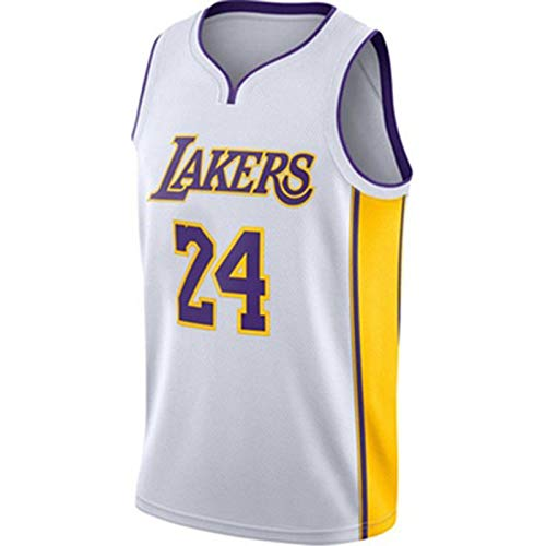 TINKOU NBA Hombres Mujeres Jersey Lakers No.24 Uniforme de Baloncesto Camisetas de Baloncesto Bordadas Transpirables Swingman,Blanco,L
