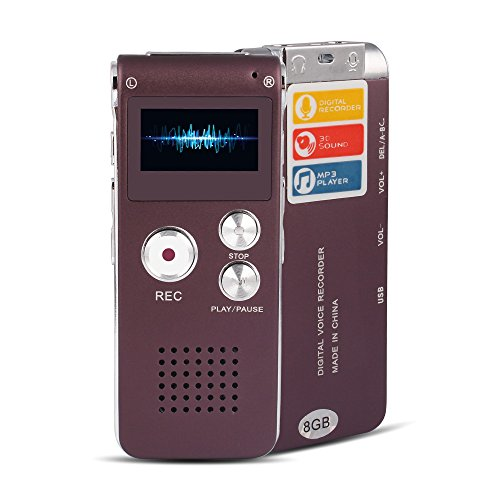 ACEE DEAL Digital Audio Voice Recorder with Android USB Port, 8GB Memory, Multifunctional MP3 Music Player & Dictaphone with Built-in Speaker, Including Cables and Earphones (Purple+Silver)