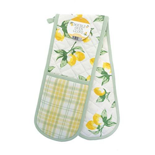 Kitchen Cooking Padded Heat Resistant Double Oven Fun Pattern Mitt Mitten Gloves (Sage & Yellow Lemons)