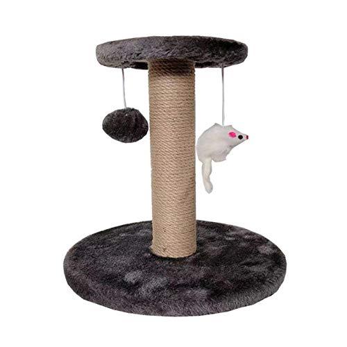 ALEOHALTER Poste de rascado para gatos, poste de rascado de sisal tejido, árbol de gato, torre para gatos pequeños, rascador de garras con dos juguetes interactivos