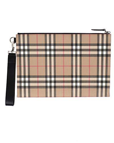 BURBERRY pochette pouch in e-canvas e pelle unisex 8016615 vintage check