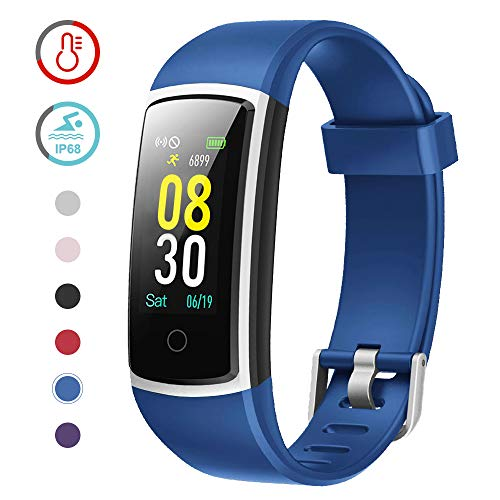 YAMAY Fitness Tracker with Blood Pressure Monitor Heart Rate Monitor Watch,IP68 Waterproof Activity Tracker 14 Modes Smart Watch with Step Counter Sleep Tracker,Fitness Watch for Women Men (Blue)