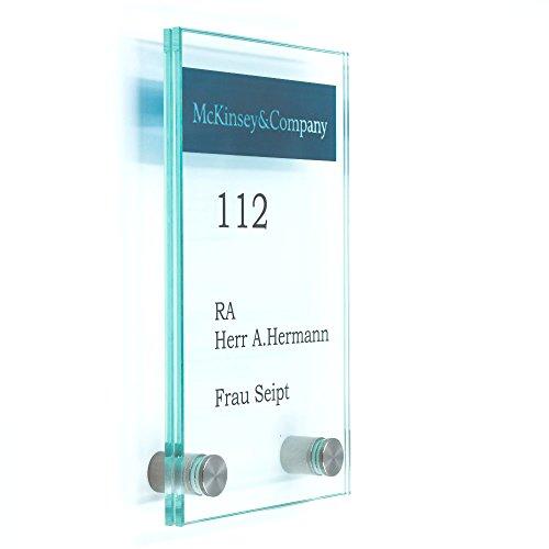 Büro Acryl Schild, Türschild 100/160 mm, 2 Edelstahlhalter,