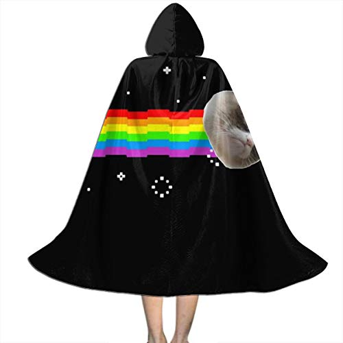 NUJSHF Grumpy Cat Nyan Cat Meme Unisex Kinder Kapuzenumhang Umhang Umhang Cape Halloween Party Dekoration Rolle Cosplay Kostüme Outwear