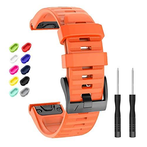Newcool Compatible con Garmin Fenix 6X/6X Pro Band 26MM Quickfit Correa de reloj de silicona suave para Fenix 5X/5X Plus/Fenix 3 Pulsera de repuesto Smartwatch + 10 tapones de polvo coloridos