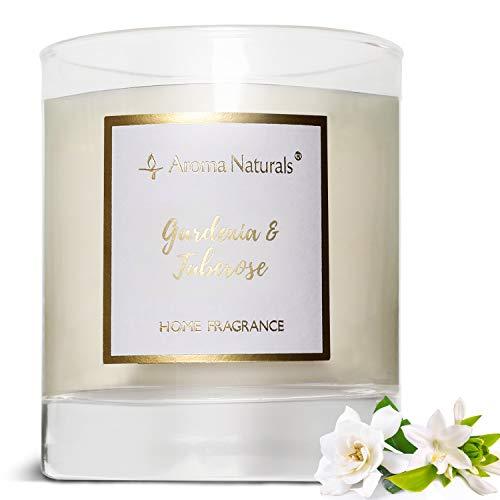 Aroma Naturals Duftkerzen, 35 Stunden Brenndauer, Kerzenglas mit natürlichem Sojawachs, Geschenkpackung (Gardenie und Tuberose)