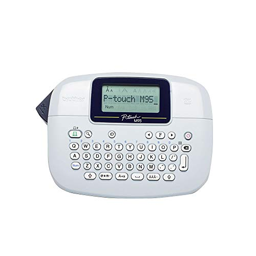 Brother PT-M95 Label Maker, P-Touch Label Printer, Handheld, QWERTY Keyboard, Up to 12 mm Labels, Includes 12 mm Black on White Tape Cassette