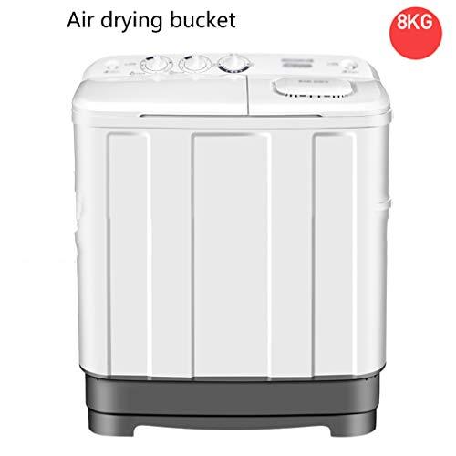 1DD1T Mini-wasmachine, compact, 2-in-1, 8 kg wasmachine + combisysteem met timer, afvoerslang, flexibele slang en extra lange kabel