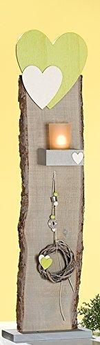 GILDE Dekoständer als Windlicht mit Herz, Dekoband und Kranz, 77 cm