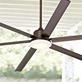 84' Casa Arcade Industrial Ceiling Fan with Light LED Dimmable Remote Control Oil Rubbed Bronze Damp Rated for Patio Porch - Casa Vieja