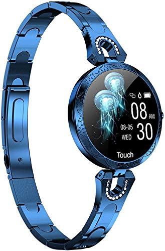 Pulsera inteligente de presión arterial Monitor de ritmo cardíaco Relojes de vestir para iOS Android Fitness Tracker para mujeres-azul