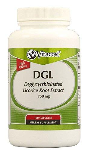 Vitacost DGL Deglycyrrhizinated Licorice Root Extract -- 750 mg - 100 Capsules