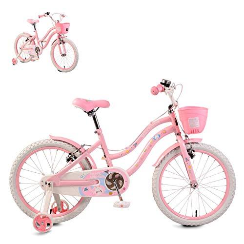 Byox vélo Enfant 20 Pouces 2083 Rose, Cadre en métal, Roues d'appui Panier Avant