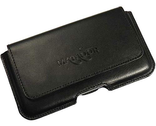 MATADOR Echt Leder Handytasche Huawei P40 / P40 LITE Gürteltasche Tasche Quer Magnetverschluss mit Gürtelclip/Schlaufe (Natur Schwarz)