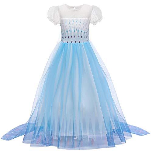 Emin Costume de princesse Reine des Neiges Elsa 2 - Pour fille - Manches longues - Vêtement d'extérieur - Pantalon - Tenue pour anniversaire, fête, carnaval, Halloween, cosplay