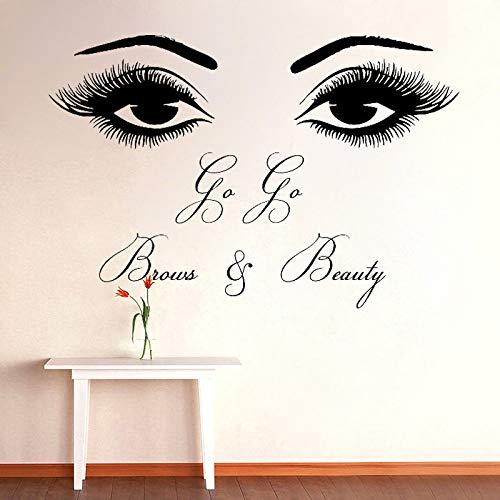 Augenbrauen Schönheitssalon Aufkleber Wandaufkleber Fenster abnehmbare Augenwimpern Tattoo Raumdekor Aufkleber Wandaufkleber Wandbild63x42cm