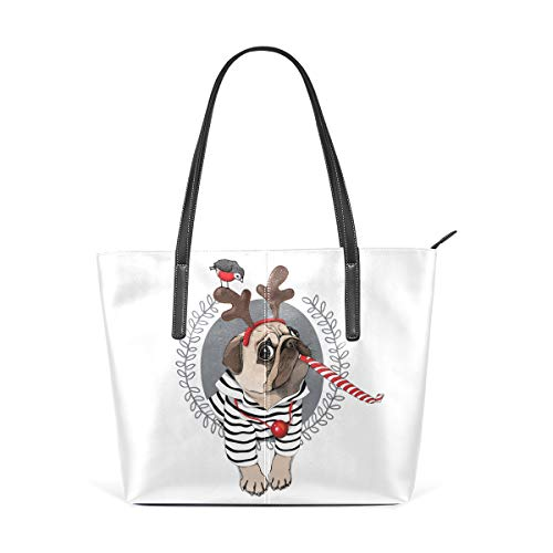 NaiiaN Shepherd Purse Shopping para mujeres Niñas Damas Estudiante Bolsa de asas con correa ligera Bolsos Bolsos de hombro Cuero Estilo navideño Pug Cárdigan a rayas de perro Cuerno Ciervo