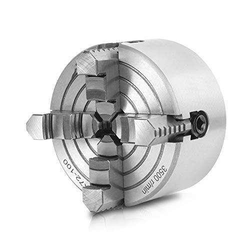 Mandril de torno de 4 pulgadas/100 mm 3500r/min, mandril de torno de metal de 4 mordazas, portabrocas de torno herramienta de sujeción de fuerza de sujeción fuerte para amolar, taladrar