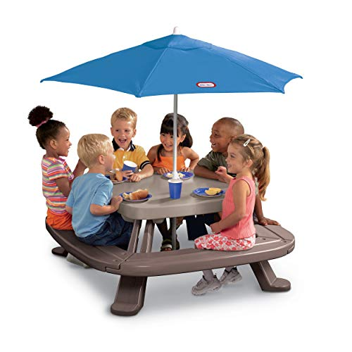Little Tikes Fold 'n Store Picnic Table with Market Umbrella, Brown (632433M) -  MGA Entertainment