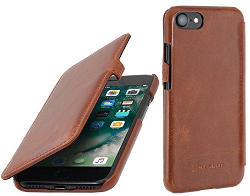 StilGut Leder-Hülle kompatibel mit iPhone SE 2020/iPhone 8/iPhone 7 Book Type mit Clip, Cognac