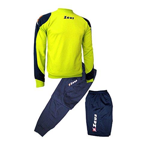 Zeus Herren Sportanzug Trainingsanzüge Running Laufen Training Sport Set Trikot Shirt Shorts Hosen Bermuda TRIS Napoli BLAU GELB (XS)