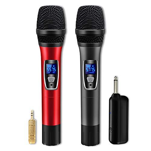 Micrófono de mano inalámbrico, Profesional Dual Micrófonos Dinámico Vocal Mic de metal...